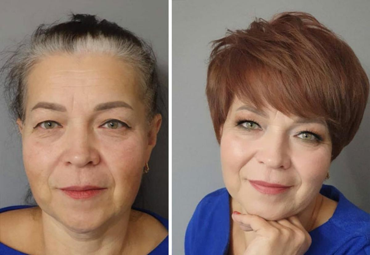 Thay vì mái tóc nửa đen nửa bạc, người phụ nữ trung niên đã đổi sang kiểu tóc pixie. Trông cô trẻ trung hơn hẳn.