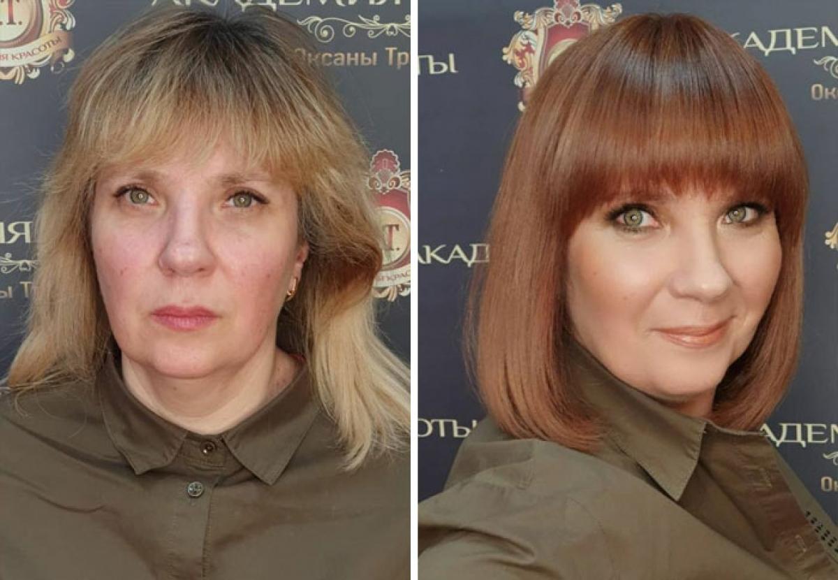 Vẻ ngoài xuề xoà đã được thay thế bằng mái tóc nâu đỏ óng ả, phù hợp với gương mặt.
