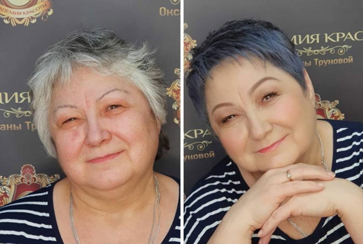 Người phụ nữ trung tuổi tự tin hơn với mái tóc mới.