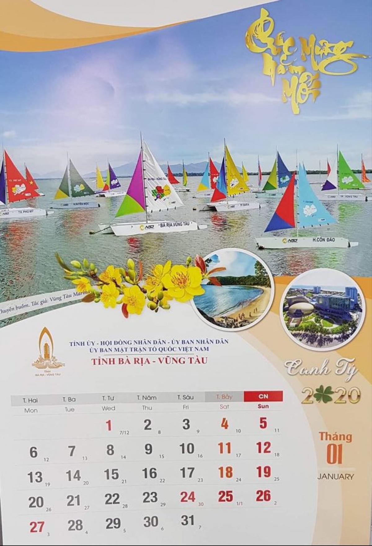 Hình ảnh vịnh Marina được in lịch của tỉnh Bà Rịa - Vũng Tàu năm 2020