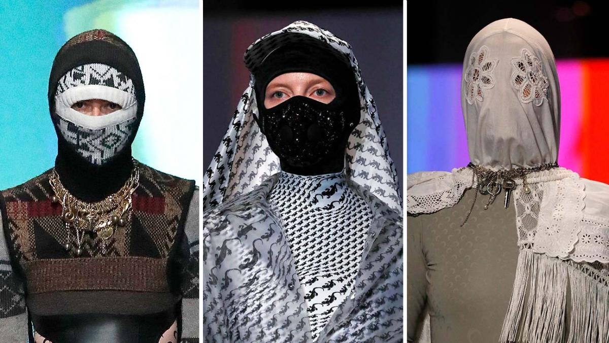Người mẫu diện những thiết kế khẩu trang độc đáo trong Tuần lễ Thời trang Paris.
