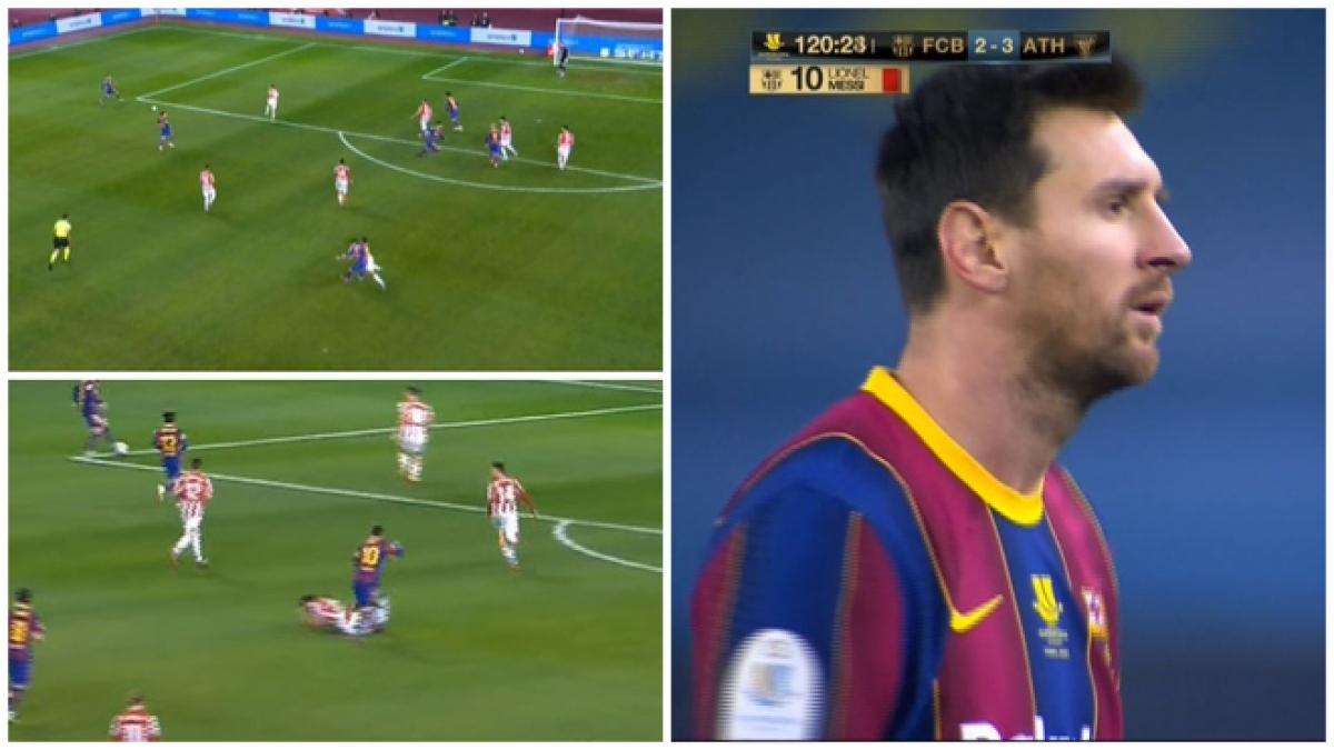 Tình huống Lionel Messi nhận thẻ đỏ. (Ảnh: Marca)
