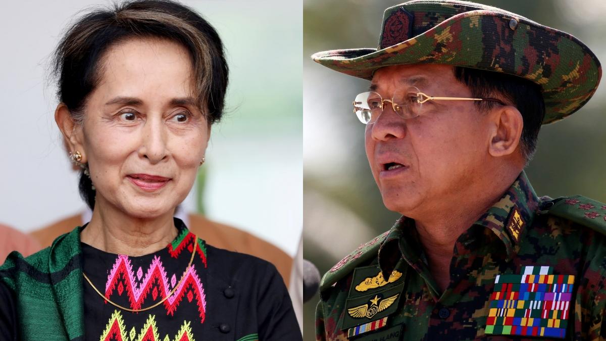 Bà Aung San Suu Kyi (trái) và Tổng tư lệnh Min Aung Hliang. Ảnh: Reuters