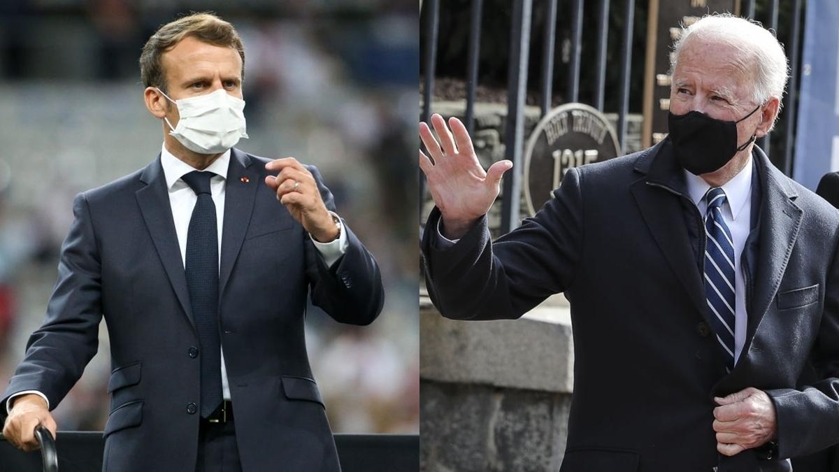 Tổng thống Pháp Macron điện đàm với tân Tổng thống Mỹ Biden (Ảnh: Getty).