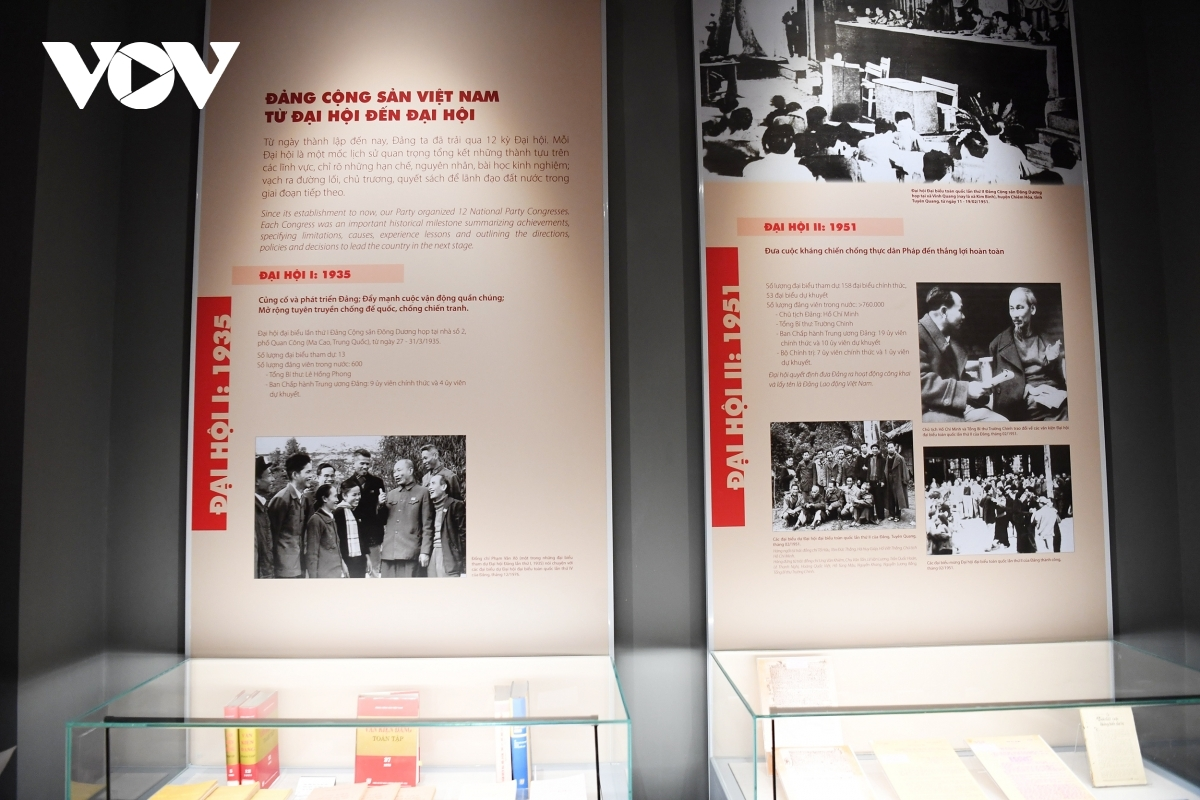 The exhibition is divided into three parts, including the foundation of the Communist Party of Vietnam, important historical milestones throughout the 12 Party Congresses, and ongoing preparation for the forthcoming 13th National Party Congress.