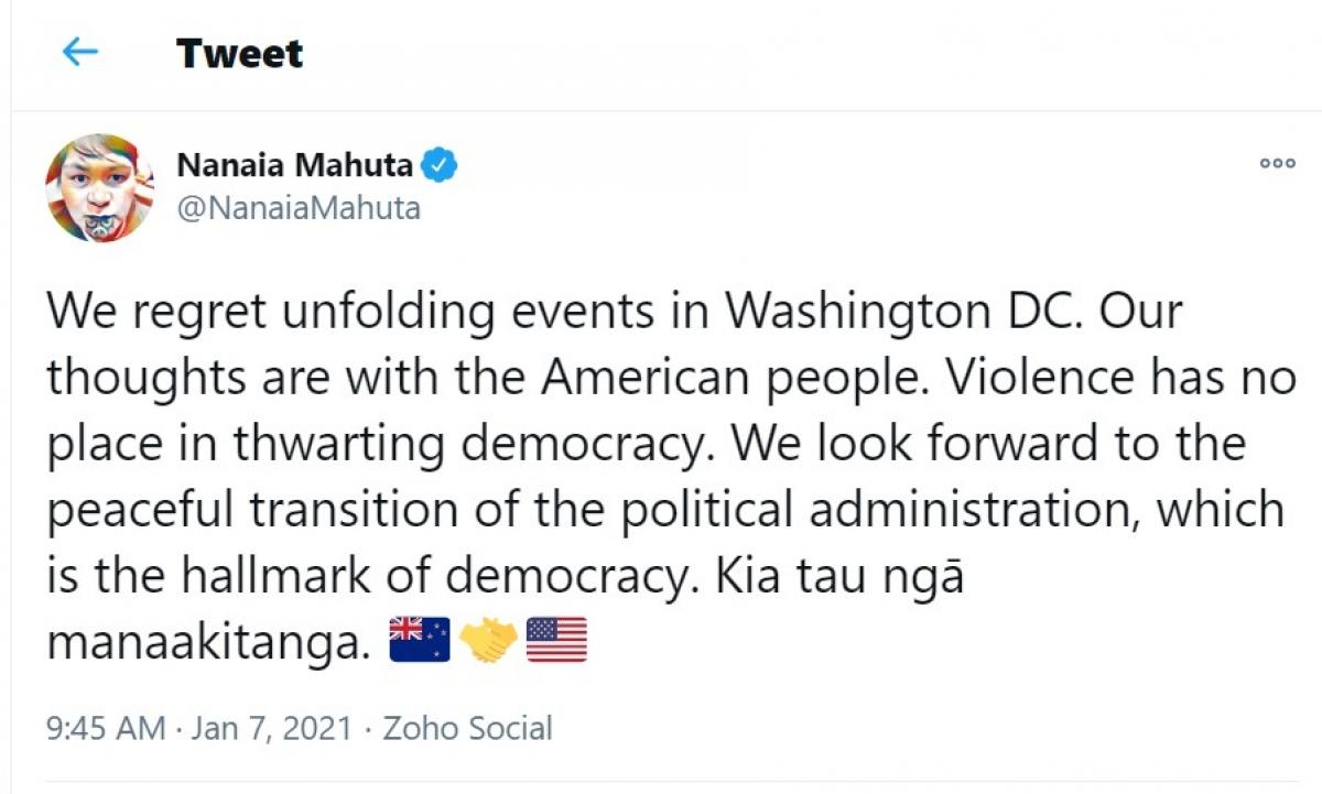 Phản ứng của Ngoại trưởng New Zealand Nanaia Mahuta trên trang twitter cá nhân.