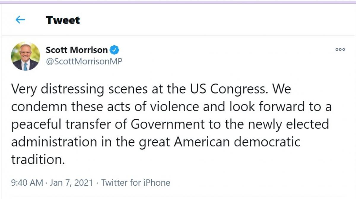 Phản ứng của Thủ tướng Australia Scott Morrison trên trang twitter cá nhân.