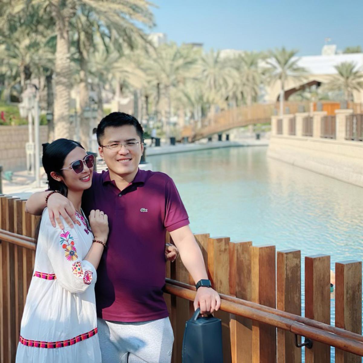 Hoa hậu Ngọc Hân và bạn trai.