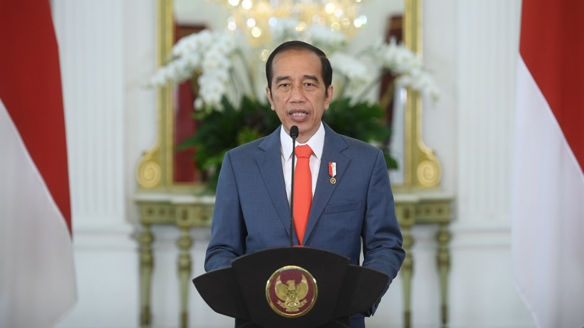 Tổng thống Indonesia Joko Widodo phát biểu tại phủ tổng thống.(Nguồn: Ban Thư ký Tổng thống Indonesia)