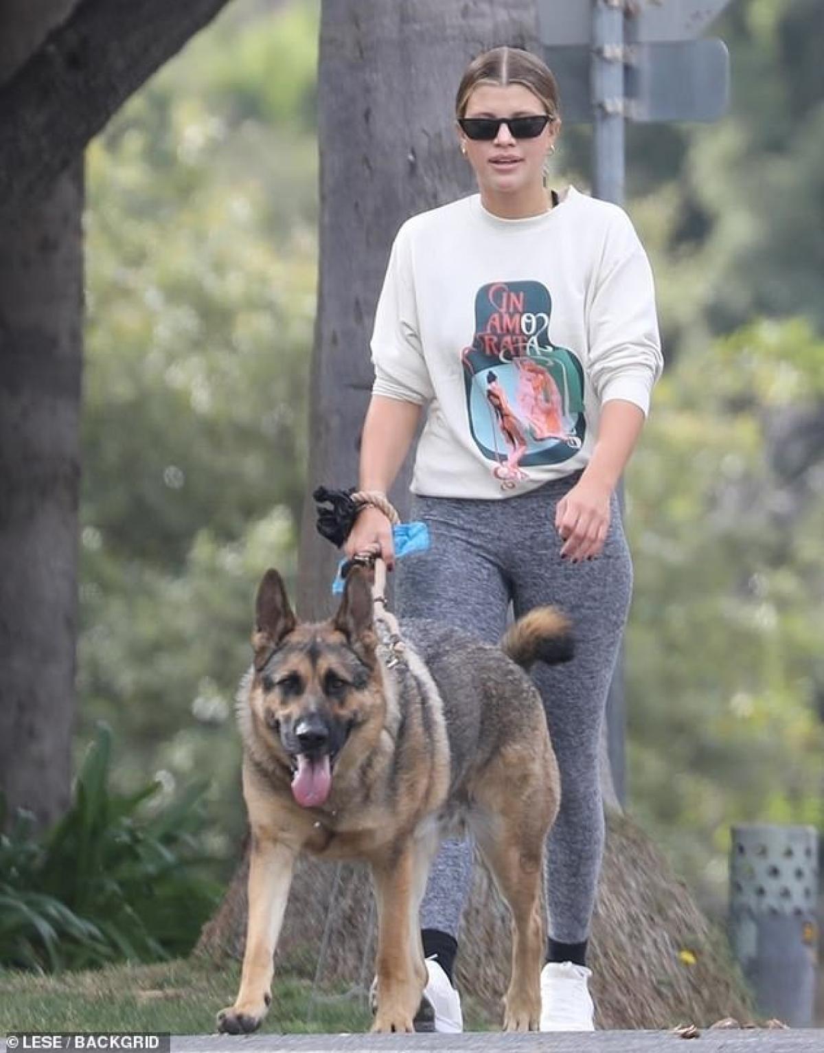 Sofia Richie một mình dắt thú cưng đi dạo ở Beverly Hills ngày 14/1 vừa qua, theo giờ địa phương.