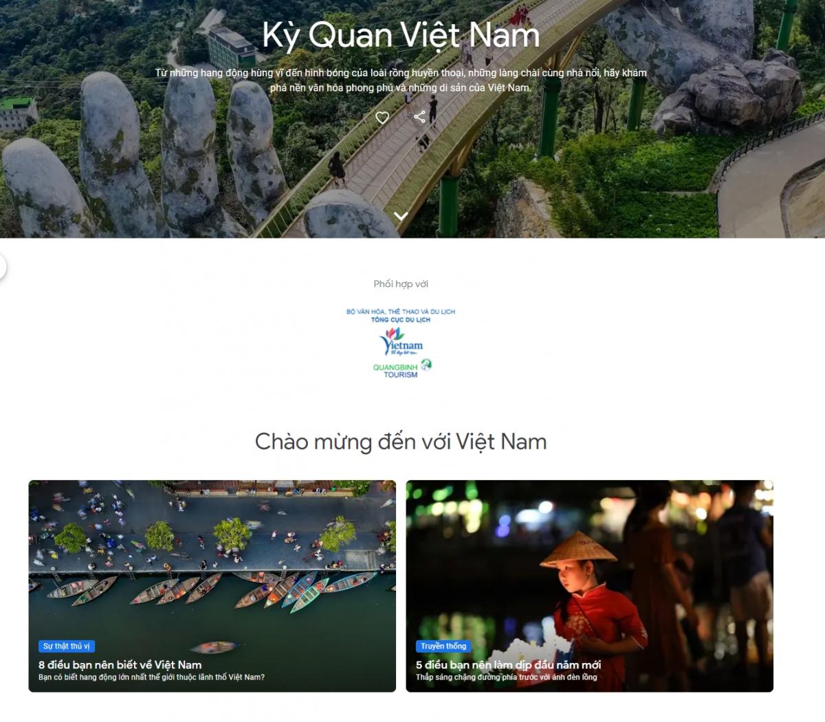 """Giao diện website dự án """"Kỳ quan Việt Nam"""". Nguồn: Google"""