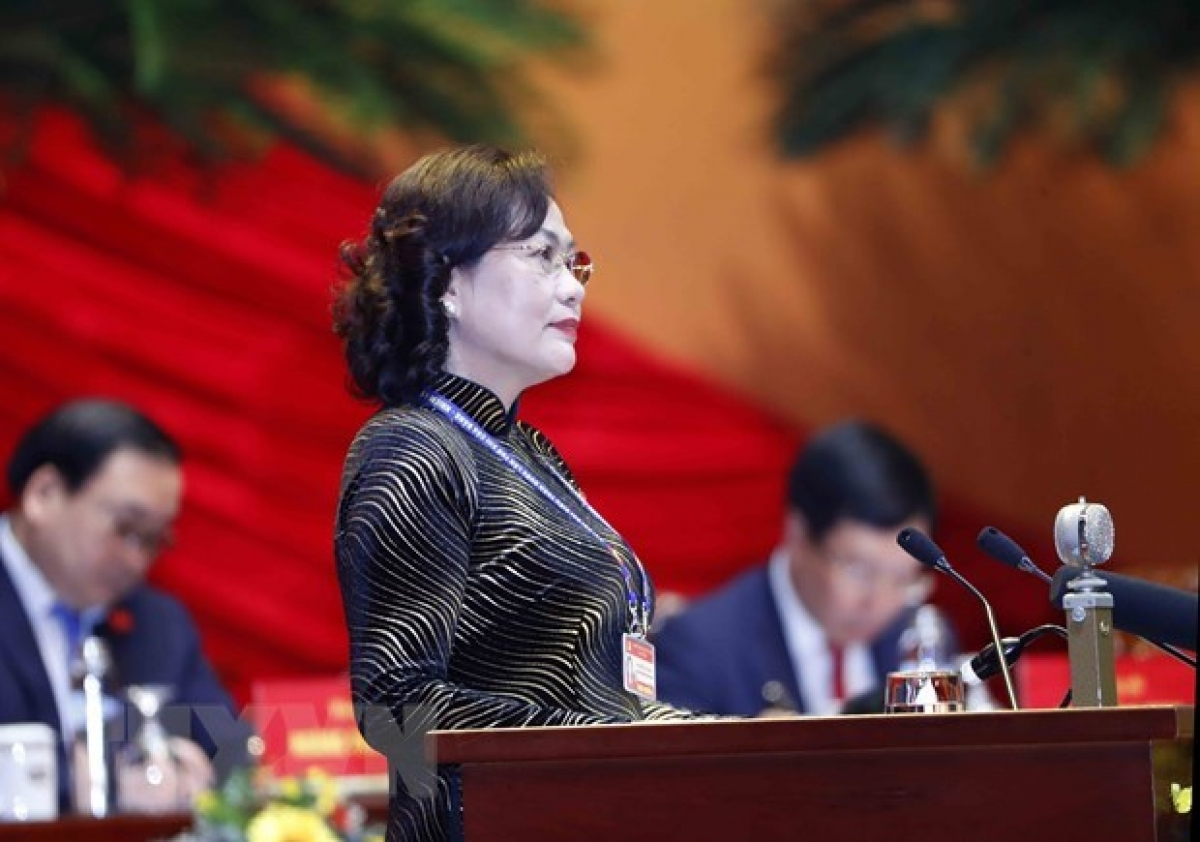Governor of theState Bank of Vietnam(SBV) Nguyen Thi Hong speaks at the congresson January 27 (Photo: VNA)
