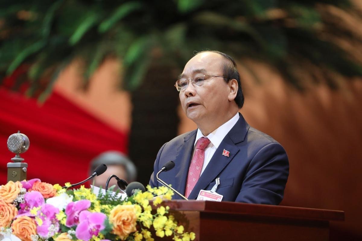 Thủ tướng Nguyễn Xuân Phúc đọc Diễn văn khai mạc Đại hội đại biểu toàn quốc lần thứ XIII của Đảng. (Ảnh: TTXVN)