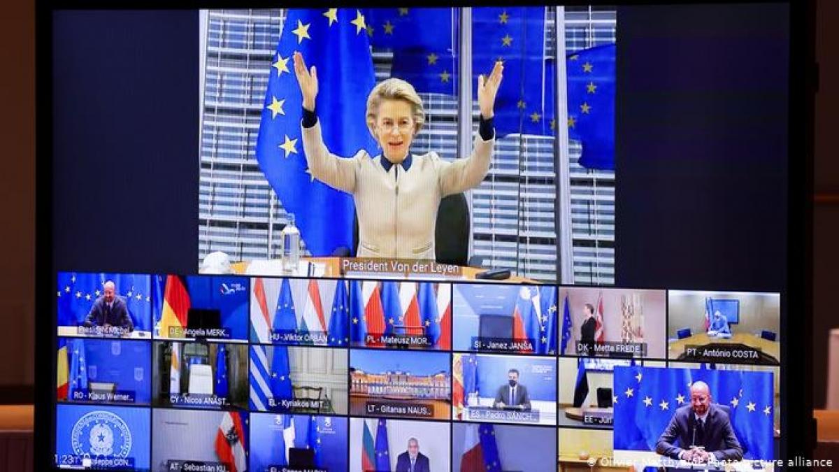 Một cuộc họp trực tuyến của EU. Ảnh: DW