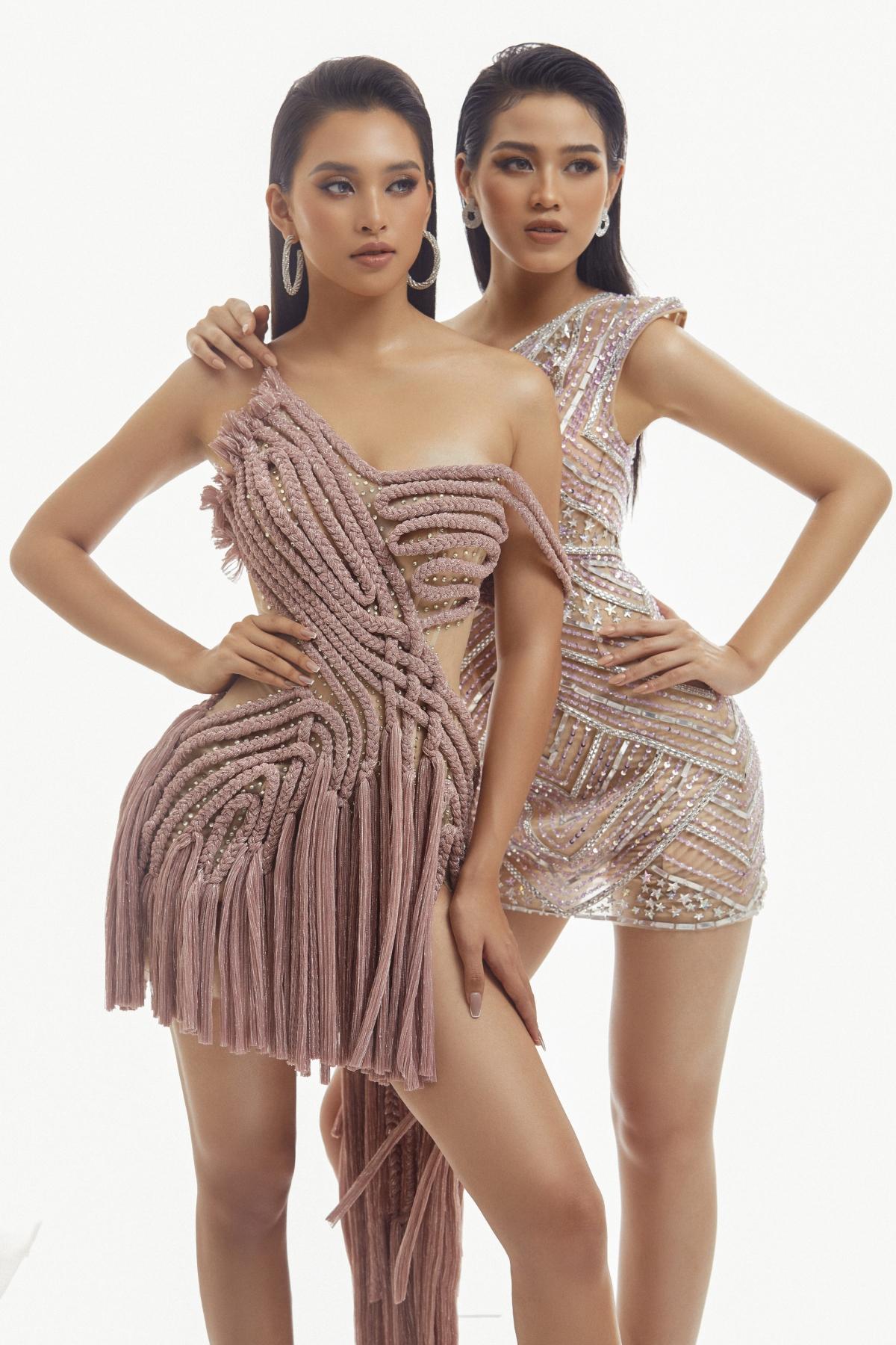 Ngược lại, Hoa hậu Đỗ Thị Hà toát lên vẻ hiện đại, nữ quyền trong chiếc váy ống đính đá lấp lánh vừa thể hiện nguồn năng lượng từ thế hệ genZ, vừa khoe được dáng vẻ mảnh mai vốn có.