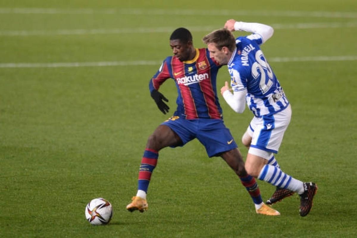 Các cầu thủ trẻ của Barca đã có trận đấu vô cùng vất vả khi Messi vắng mặt. (Ảnh: Getty).
