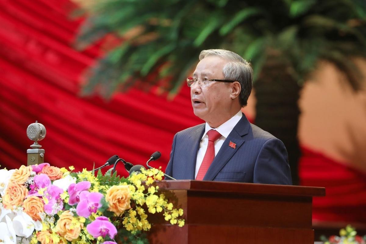 Thường trực Ban bí thư Trần Quốc Vượngthay mặt Đoàn Chủ tịch tuyên bố lý do, giới thiệu đại biểu và khách mời của Đại hội.(Ảnh: TTXVN)