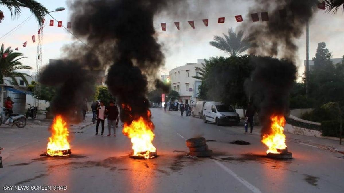 Tunisia bùng phát biểu tình. Ảnh: Skynewsarabia