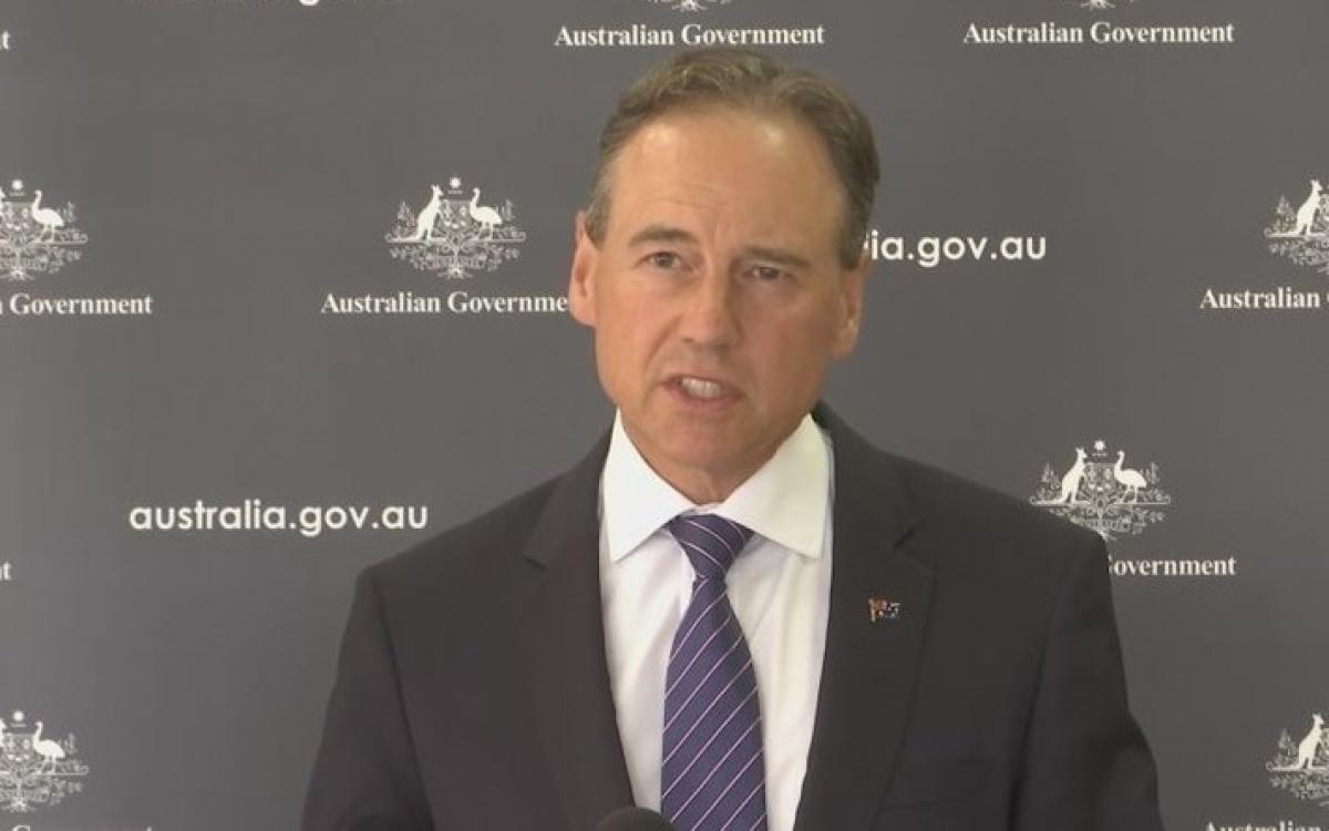 Bộ trưởng Y tế Australia Greg Hunt hôm nay thông báo nước này chuẩn bị thử nghiệm 2 loại vaccine Covid-19 mới. Ảnh: 9News.