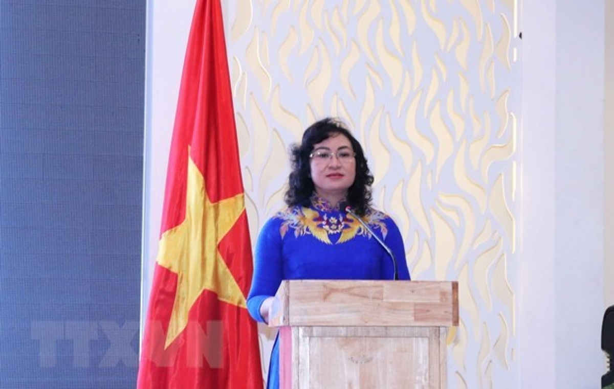 Vice Chairwoman of the HCM City People's Committee Phan Thi Thang speaks at the event