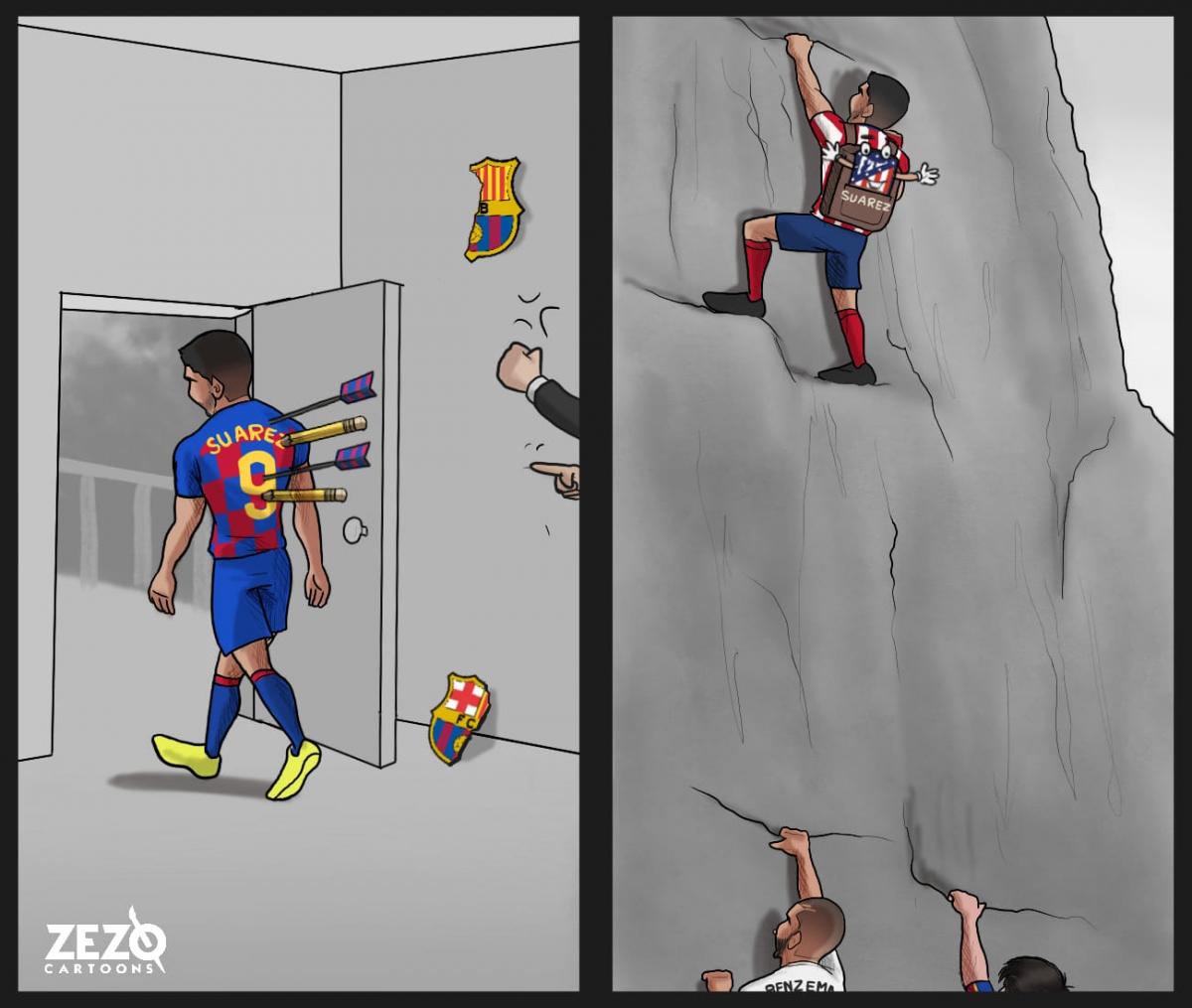 Luis Suarez chứng minh giá trị ở Atletico Madrid. (Ảnh: ZEZO Cartoons)