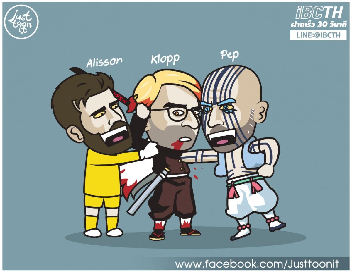 """Alisson """"tiếp tay"""" để Pep Guardiola hạ gục Jurgen Klopp. (Ảnh: Just Toon It)"""