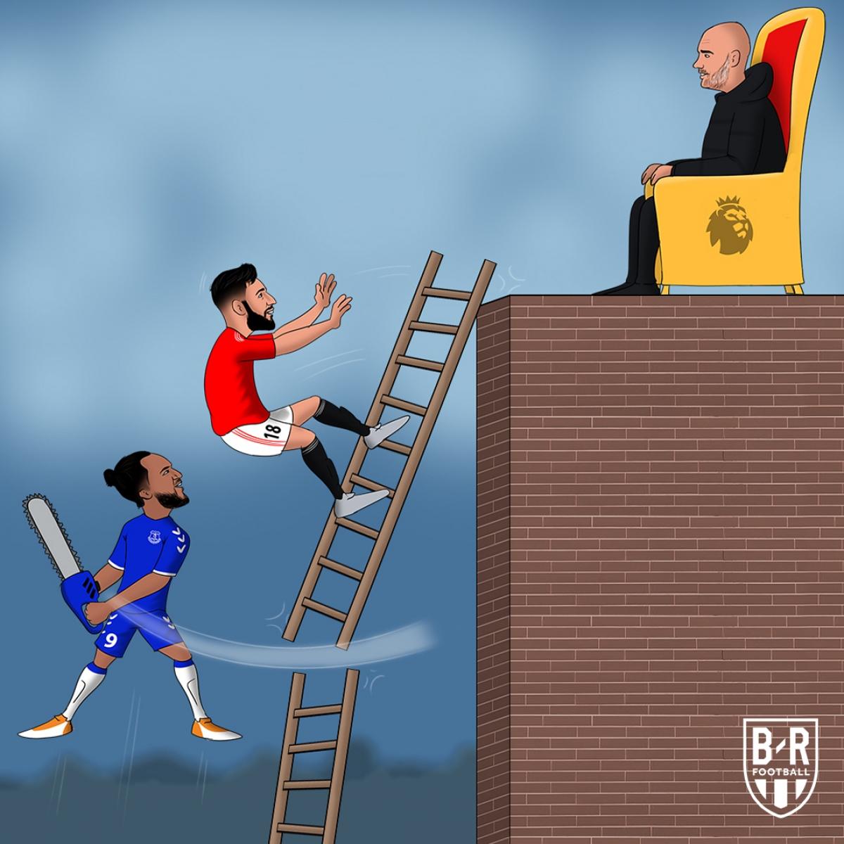 Everton ngáng chân MU trong cuộc đua vô địch. (Ảnh: Bleacher Reports)