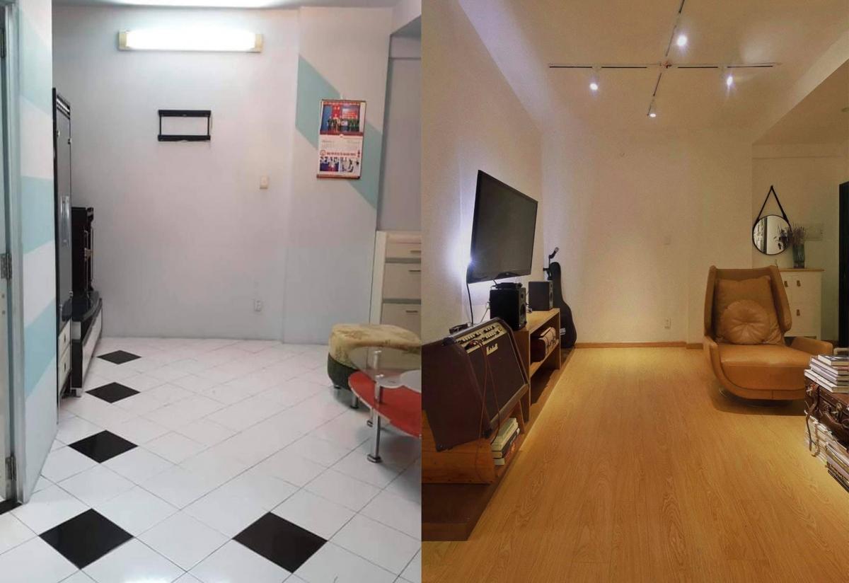 Anh cho biết, với mong muốn kiếm chỗ ở ổn định kiêm văn phòng làm việc, anh đã cất công tìm khắp Sài Gòn mới kiếm được một căn hộ nhỏ, thoáng với giá thuê rẻ ở quận 7 để tiến hành cải tạo. Không gian phòng khách cũ đã được