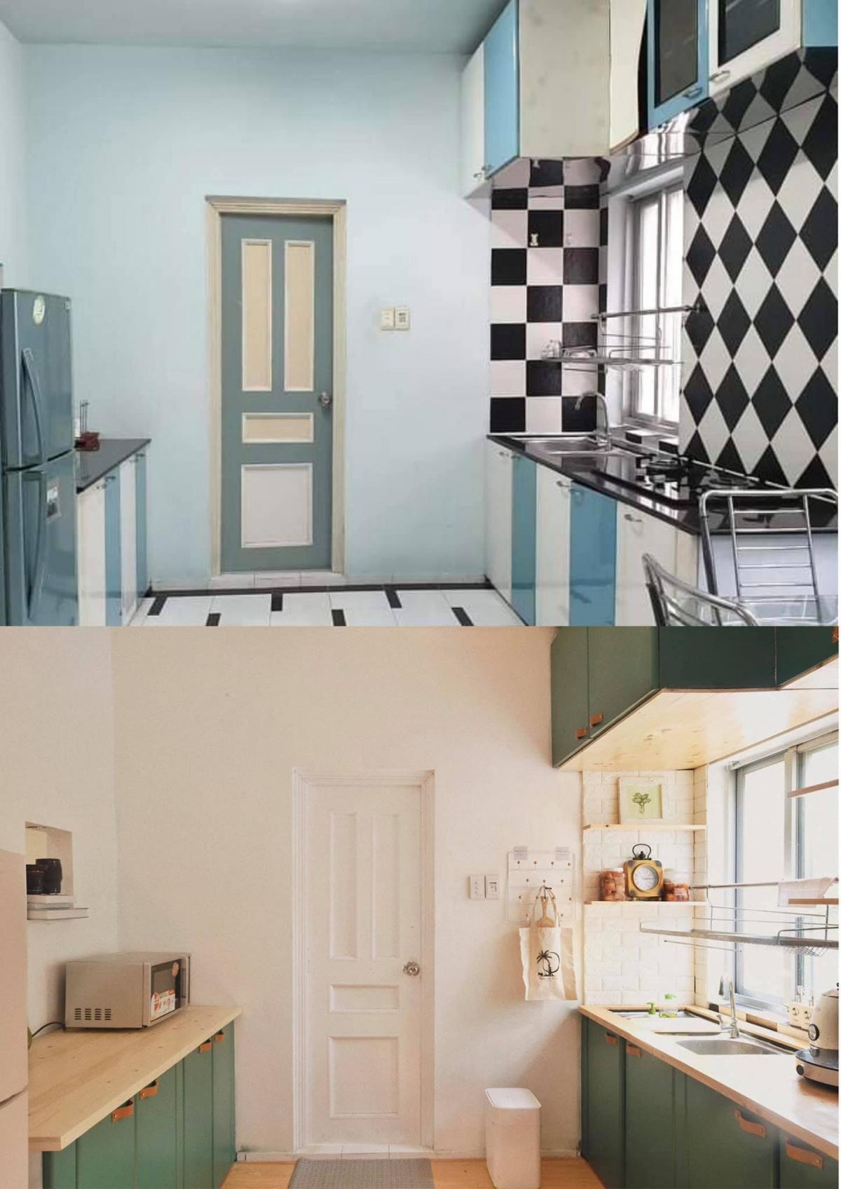 Gian bếp màu mè cũ kỹ đã được thay thế với tủ bếp màu xanh kết hợp mặt gỗ, tường trắng gợi cảm giác xinh xắn, hài hòa.