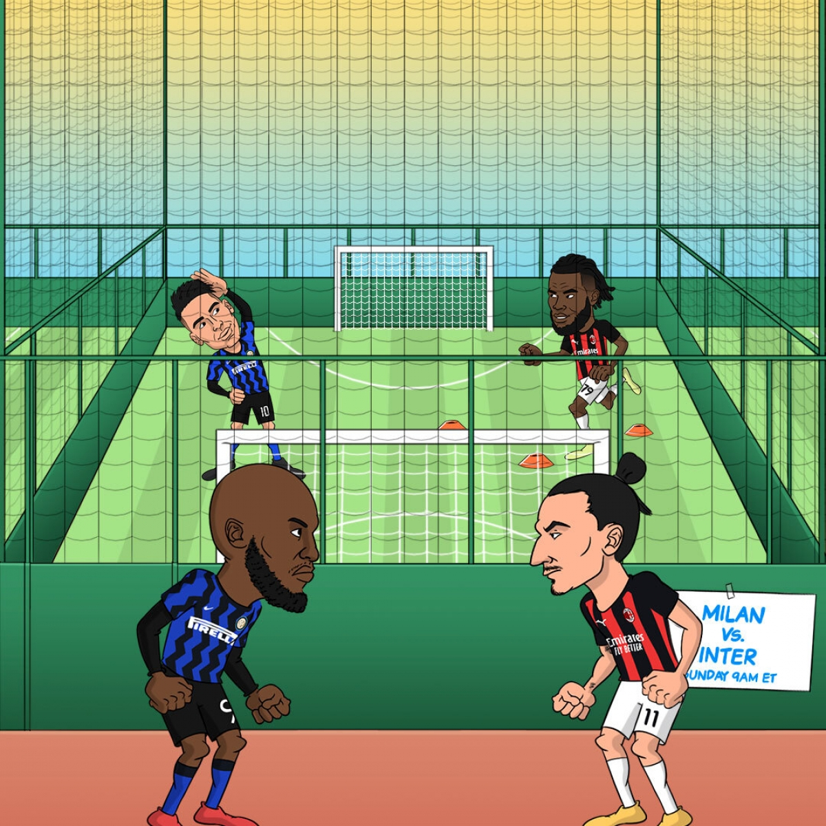Romelu Lukaku và Zlatan Ibrahimovic tái ngộ trong trận derby Milan. (Ảnh: Bleacher Reports)