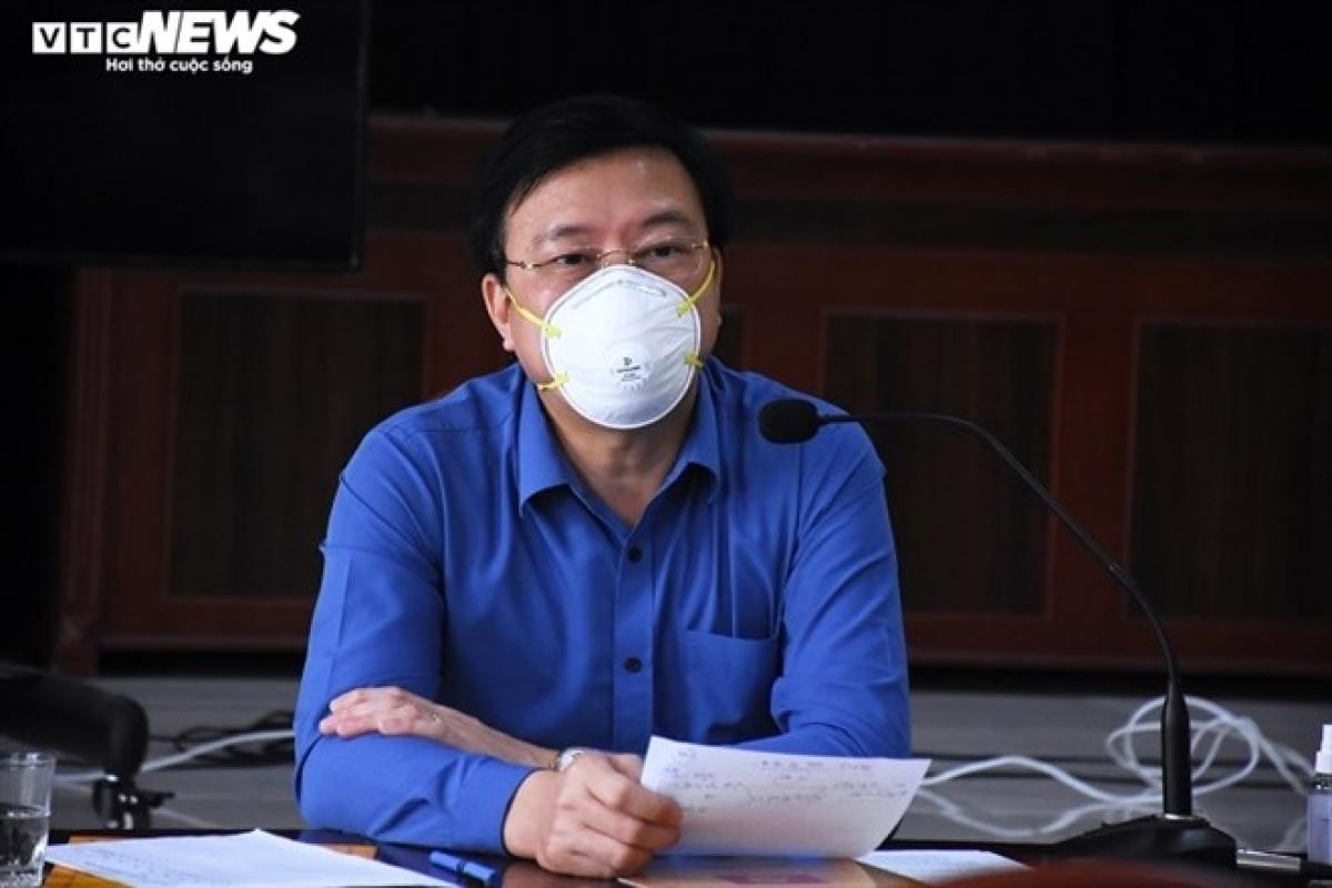 Bí thư Tỉnh ủy Hải Dương Phạm Xuân Thăng tại buổi làm việc với lãnh đạo huyện Kim Thành về công tác phòng, chống dịch Covid-19.