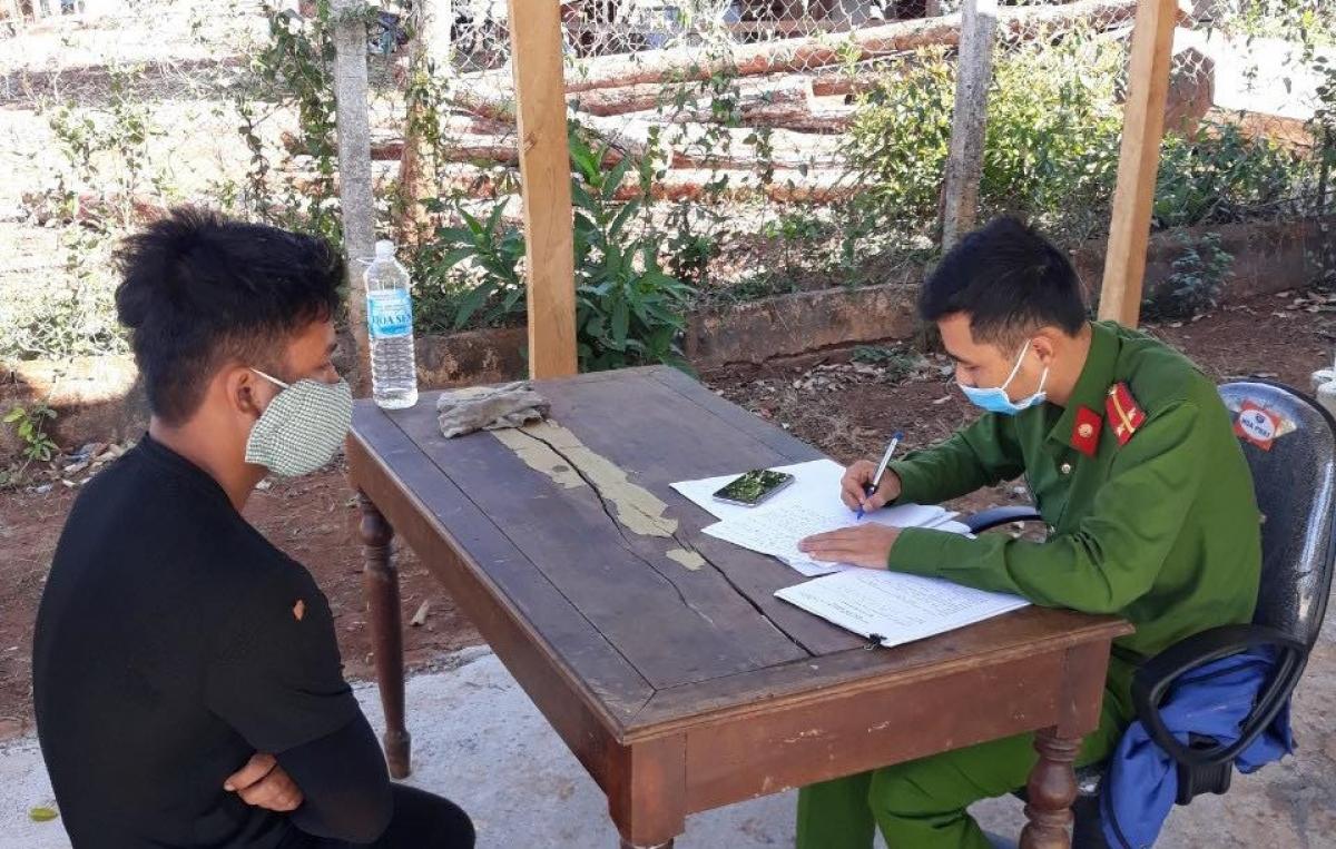Công an huyện Mang Yang đang lấy lời khai các đối tượng liên quan tới vụ phá rừng.