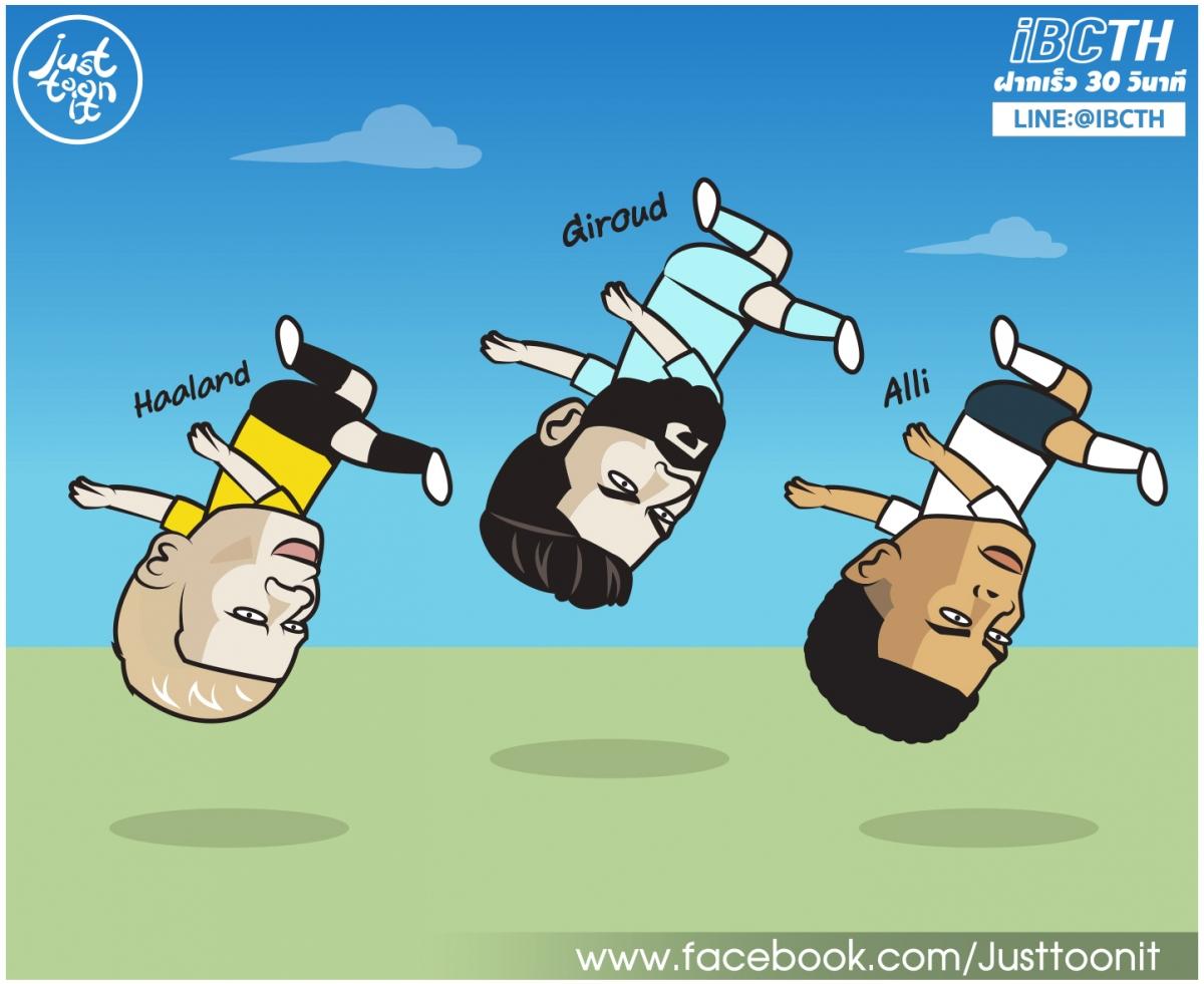 """Haaland, Giroud, Alli thi nhau trổ tài """"ngả bàn đèn"""". (Ảnh: Just Toon It)"""