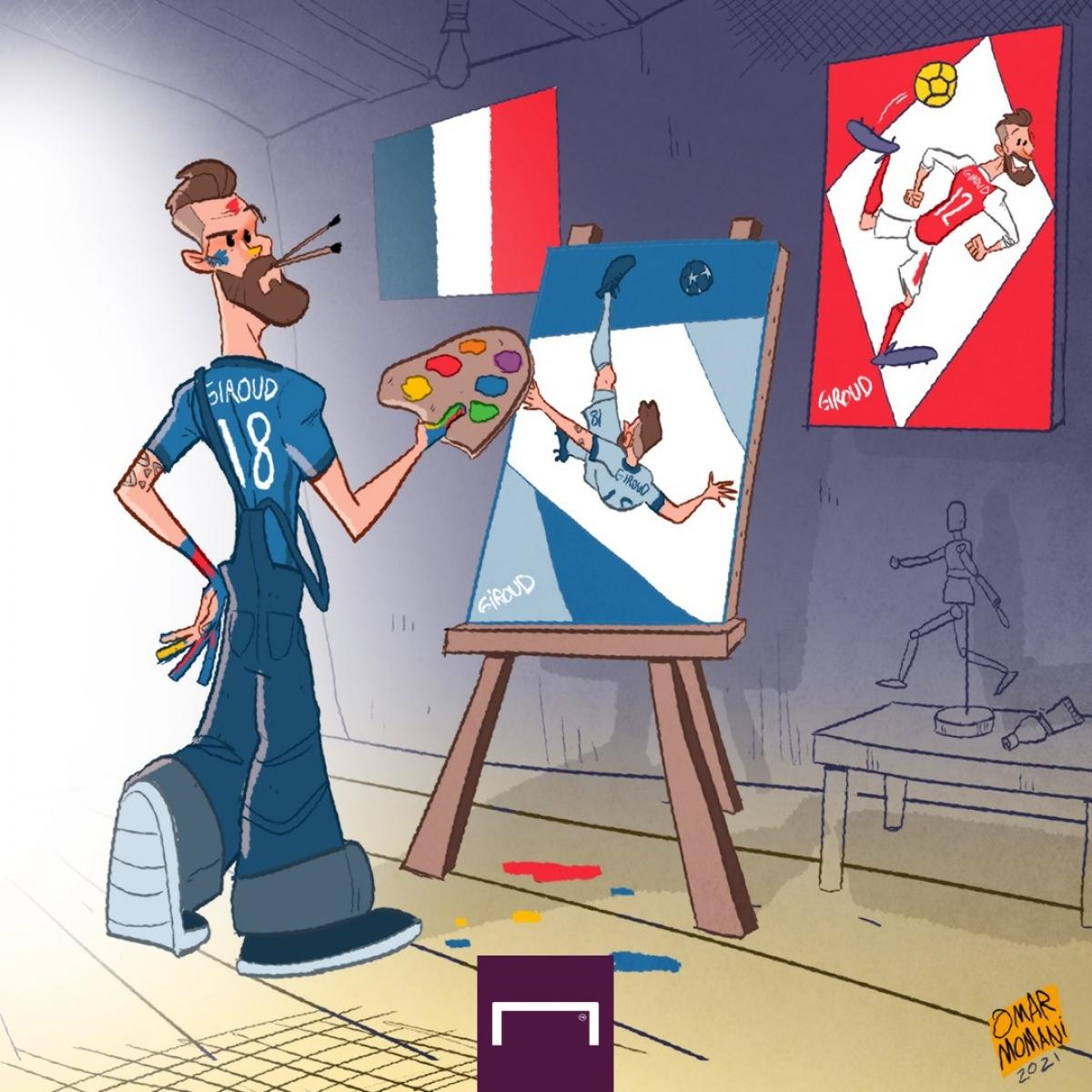 """Hãy ngừng gọi Olivier Giroud là tiền đạo """"chân gỗ"""". (Ảnh: Omar Momani)"""