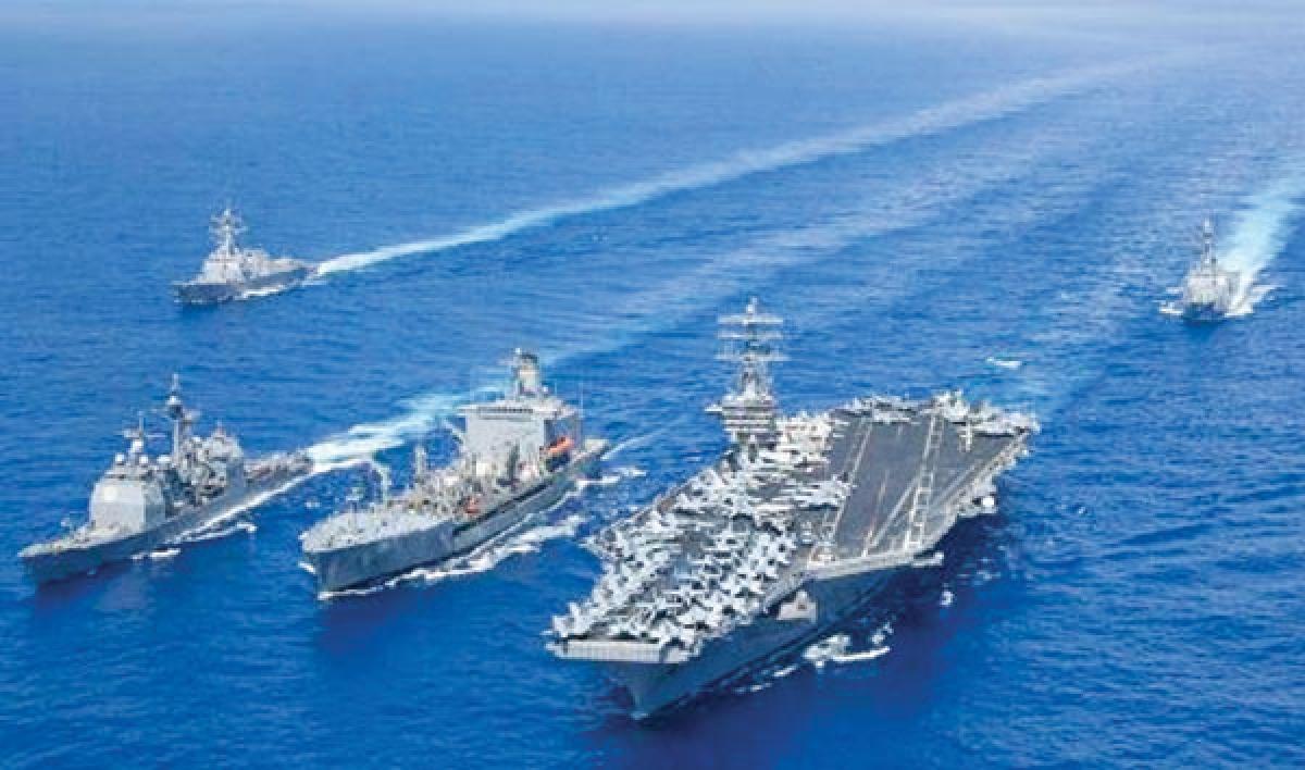 Nhóm tàu sân bay tấn công USS Nimitz trên đường đến Biển Đông tập trận. Ảnh: U.S. Navy.