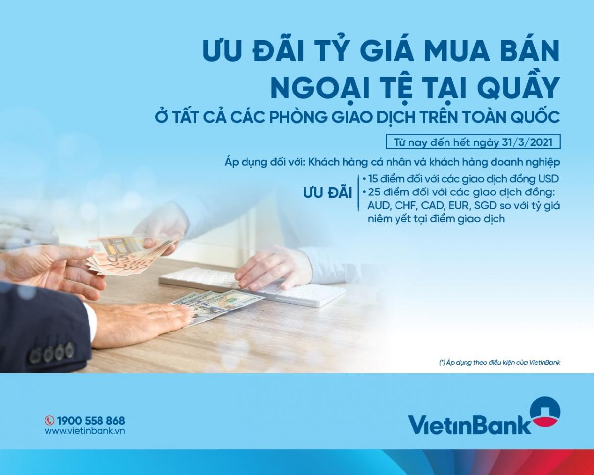 Dịch vụ mua bán và chuyển tiền ngoại tệ của VietinBank đã đón nhận được sự quan tâm và sử dụng của đông đảo của các khách hàng.