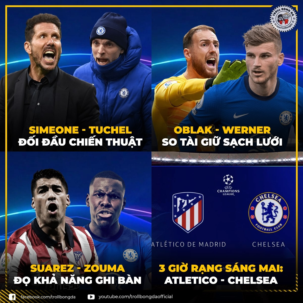 Cuộc so tài hấp dẫn giữa Atletico và Chelsea ở Champions League vào rạng sáng mai. (Ảnh: Troll bóng đá).