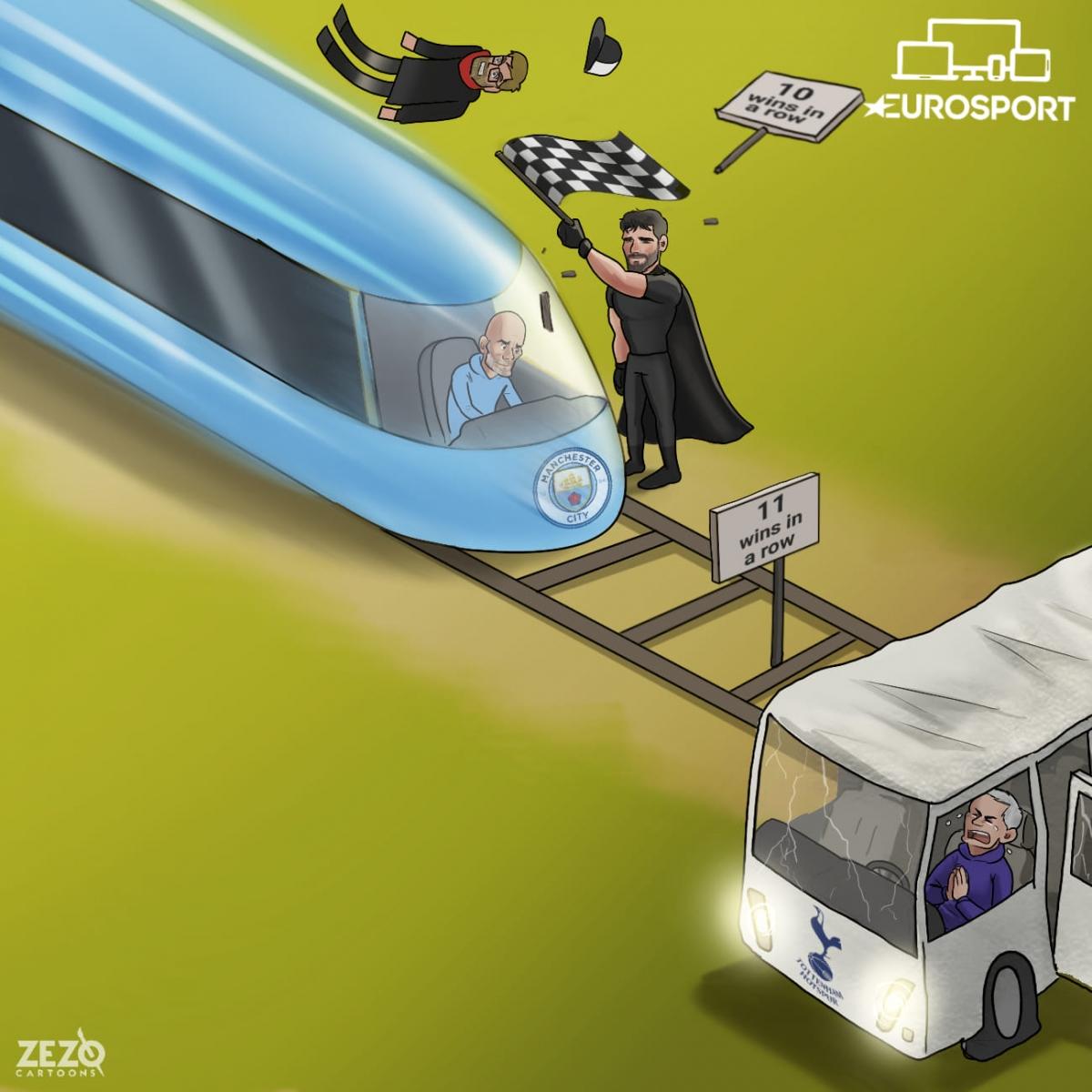 Man City chuẩn bị đối mặt thách thức từ Tottenham để duy trì mạch thắng lên con số 11. (Ảnh: Zezo Cartoons).