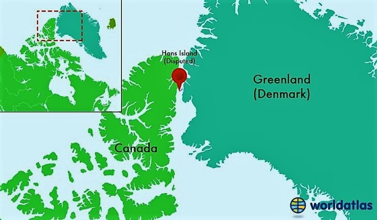 Vị trí Đảo Hans. Nguồn: worldatlas.com