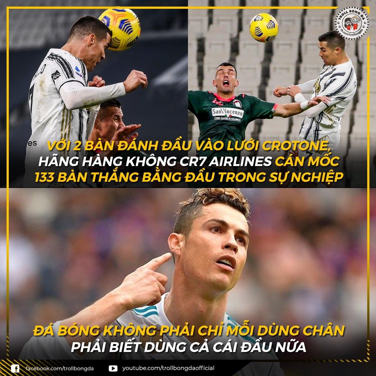 """Ronaldo khiến tất cả """"ngả mũ"""" với kỷ lục ghi bàn bằng đầu. (Ảnh: Troll bóng đá)."""