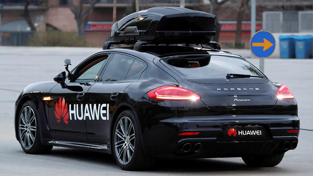 Một mẫu xe đang chạy thử nghiệm các công nghệ của Huawei.