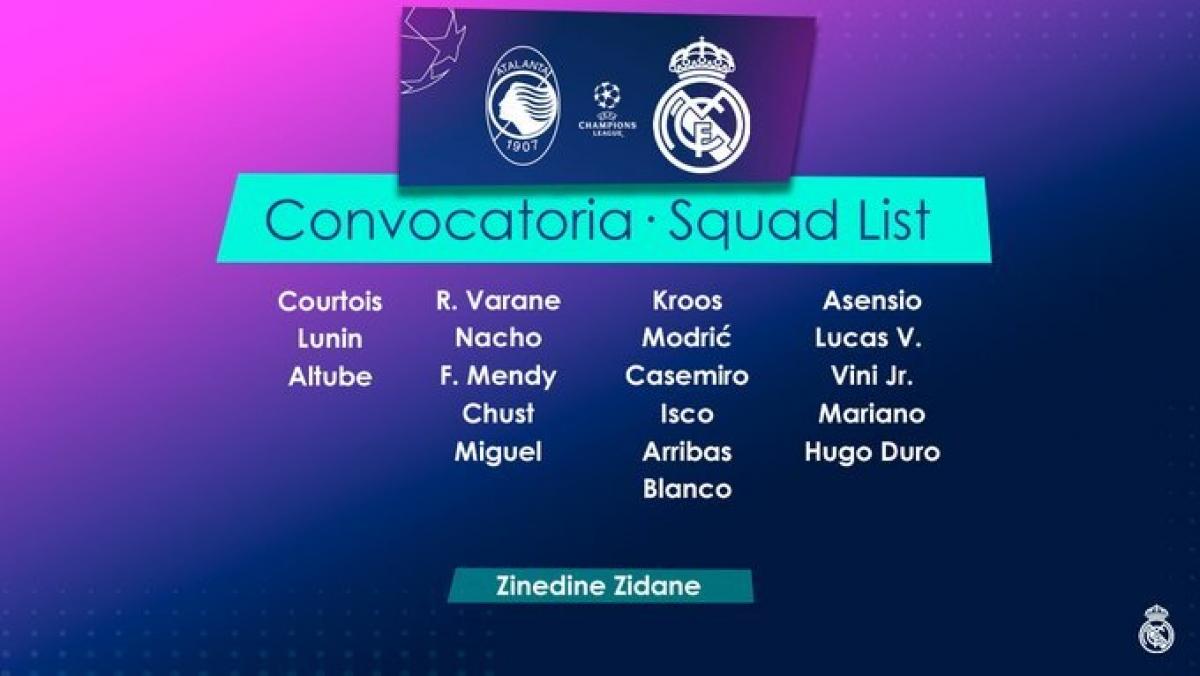 Danh sách 19 cầu thủ Real đến làm khách của Atalanta với nhiều cái tên còn rất xa lạ với người hâm mộ. (Ảnh: Real Madrid).