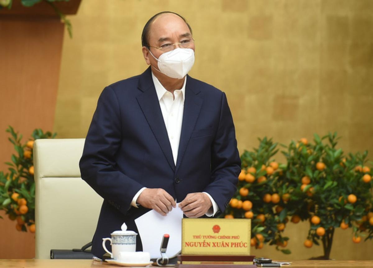 Thủ tướng Nguyễn Xuân Phúc chủ trì cuộc họp Thường trực Chính phủ về phòng chống COVID-19 - Ảnh: VGP