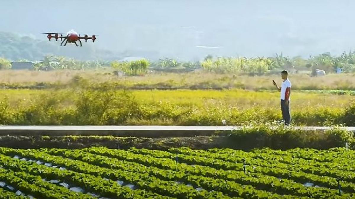 Các sản phẩm công nghệ như máy bay không người lái có thể giúp gieo hạt, trồng trọt và đảm bảo đầu ra lương thực ổn định. (Ảnh chụp màn hình: SMCP)