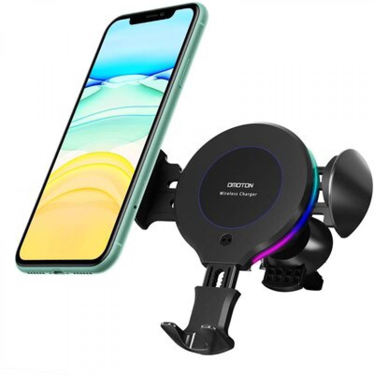 Tất cả điện thoại thông minh tương thích Qi đều có thể được sạc trên giá của Omoton, trong đó có điện thoại Samsung công suất sạc 10W, iPhone có công suất 7,5W. Phụ kiện này gắn trực tiếp vào lưới thông gió trên xe ô tô và có thể xoay 360 độ.
