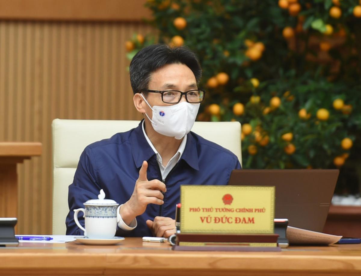 Phó Thủ tướng Vũ Đức Đam, Trưởng Ban Chỉ đạo quốc gia phòng chống dịch bệnh COVID-19 phát biểu tại cuộc họp - Ảnh: VGP