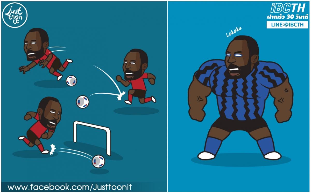 Lukaku đã hoàn thiện hơn rất nhiều tại Inter. (Ảnh: Just Toonit).