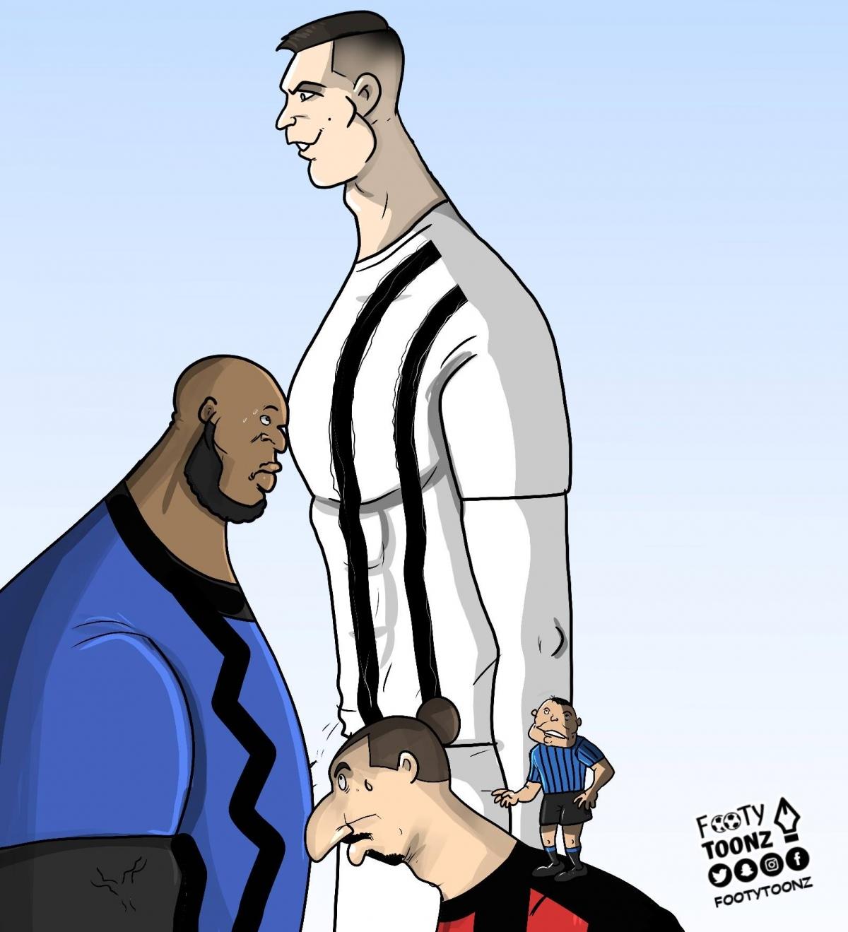 Cuộc đua vua phá lưới ở Serie A. (Ảnh: Footy Toonz).