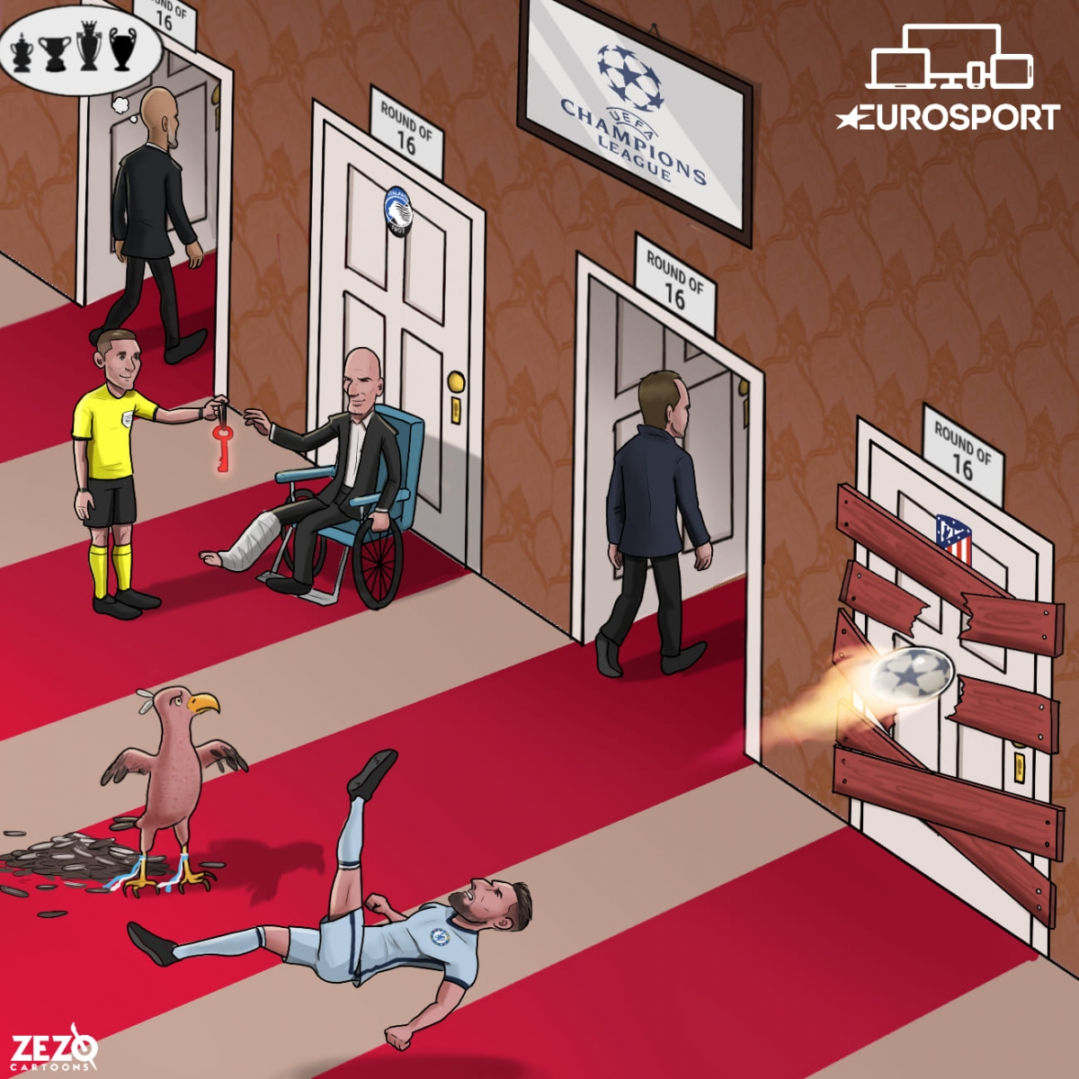Toàn cảnh lượt đi vòng 1/8 Champions League. (Ảnh: Zezo Cartoons).