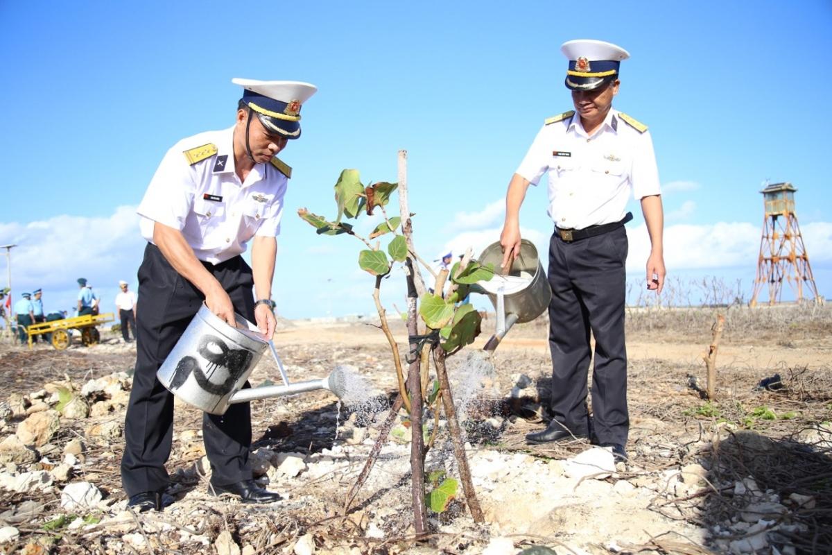 Trồng cây xanh trên đảo Trường Sa